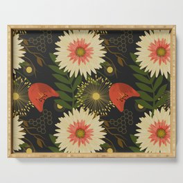 Daisy and Tulip Flower Pattern- Black, Creme, Red Serving Tray