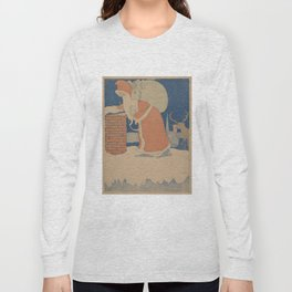 Vintage Santa Claus Going Down The Chimney Illustration (1901) Long Sleeve T-shirt