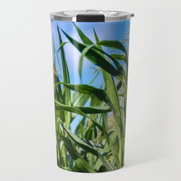 Corn Field Blue Sky Close-up Travel Mug