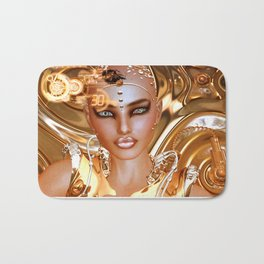 A Futuristic Robot Girl in Shiny Gold and Abstract Background Bath Mat