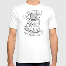 Gentleman Pig (S6 Tee) Black & Gray Mens Fitted Tee White SMALL
