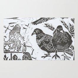 Bedford Square, Feeding pigeons lino cut Rug