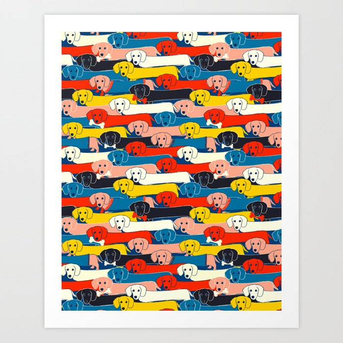 COLORED DOGS PATTERN 2 Art Print