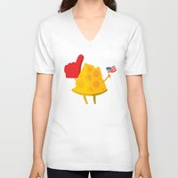 cheese V-neck T-shirts featuring cheese by alex eben meyer