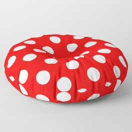 Red - White Polka Dots - Pois Pattern Floor Pillow