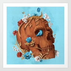 Skull Tree square Art Print