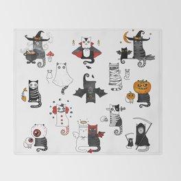 Halloween Cats In Terrible Imagery Throw Blanket