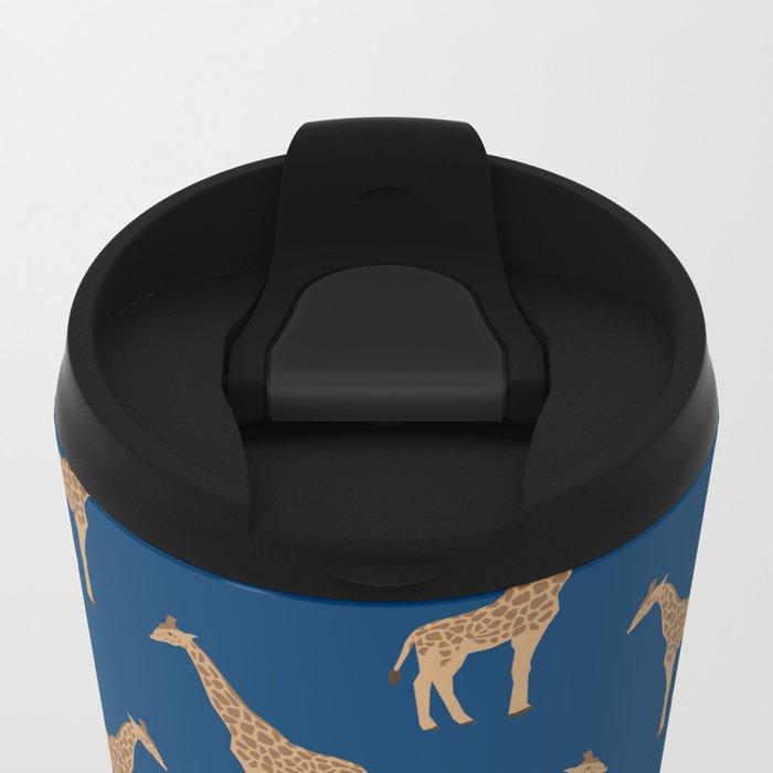 Giraffe african safari basic pattern print animal lover nursery dorm college home decor Metal Travel Mug