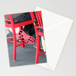 Sitting Cross Legged On The Red Chair Stationery Cards