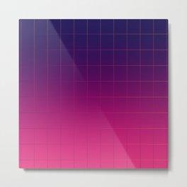 Synthwave Pantone Gradient Grid Lines Metal Print