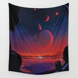 NASA Retro Space Travel Poster #13 - TRAPPIST-1e Wall Tapestry