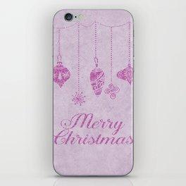 Pink glittering christmas decoration iPhone Skin