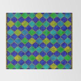 Ocean Breeze -Watercolor Moroccan Lattice Throw Blanket