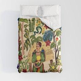 Frida's Garden, Casa Azul Lush Greenery Frida Kahlo Landscape Painting Comforters