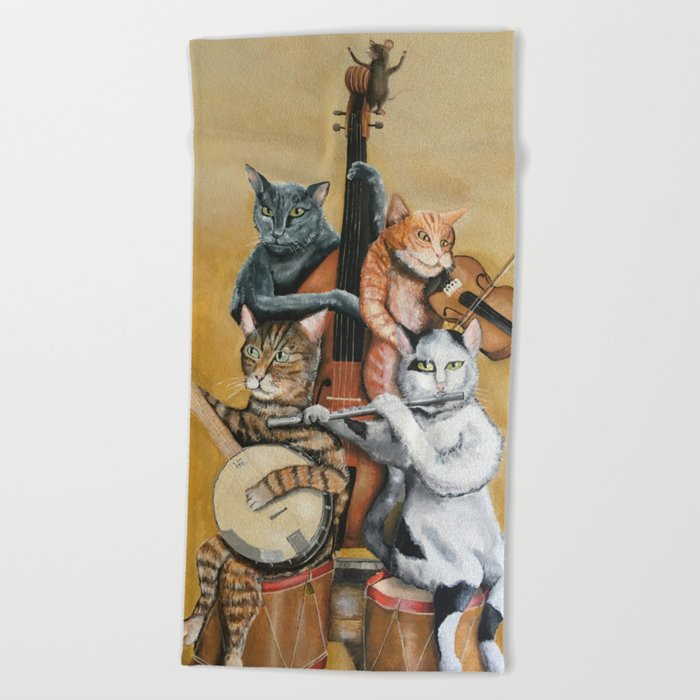 Cat Quartet Beach Towel