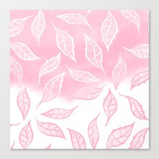 Modern pink white watercolor ombre lace leaf pattern illustration Canvas Print
