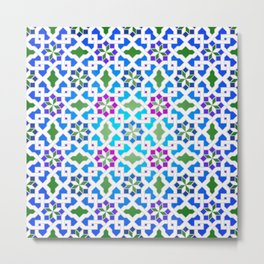 Beautiful oriental flower pattern 7 blue, green Metal Print