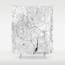 Nashville White Map Shower Curtain