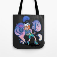 inner demons Tote Bags featuring Inner Demons by Joni Waffle