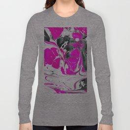 Abstract Neon Pink Black Cute Watercolor Swirls Long Sleeve T-shirt