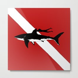DIVER DOWN - great white shark dive Metal Print