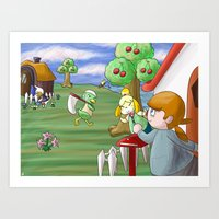 animal crossing Art Prints featuring Animal Crossing by timehwimeh