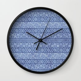 Tribal Batik in Cornflower Blue Wall Clock