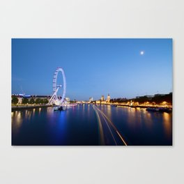 Night Time on the River Thames Canvas Print