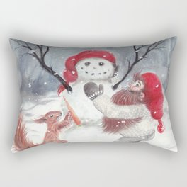 Gnome and squirrel building snowman - Christmas Rectangular Pillow