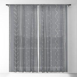 Moroccan Stripe in Charcoal Sheer Curtain