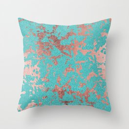 Modern turquoise glitter faux rose gold marble Throw Pillow