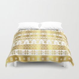 Nordic fair isle christmas pattern gold Duvet Cover
