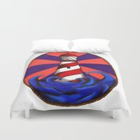 lighthouse Duvet Covers featuring Lighthouse by Shelly Lukas Art