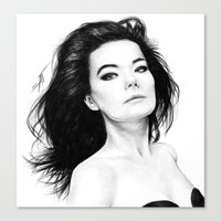bjork Canvas Prints featuring Bjork by AnastasiumArt