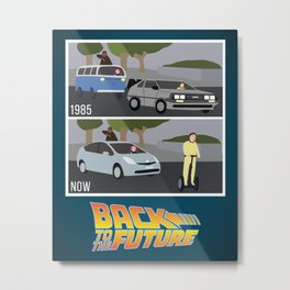 Back To The Future DeLorean 80s Art Print Wall Decor Inspirational Poster Motivational Movie Marty M Metal Print