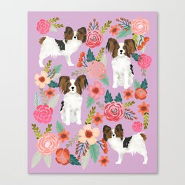 Papillon pet friendly small cute dog breed must have gift for dog lover florals dog pattern print Canvas Print