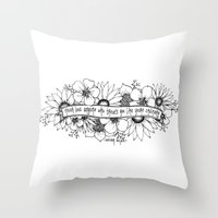 oscar wilde Throw Pillows featuring Oscar Wilde flowers by Narts and Crafts