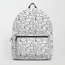 Please Sleep in Black + White Backpack