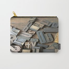 Vintage Wooden Letter Press Letters Carry-All Pouch