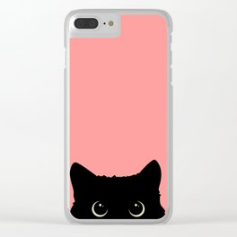 Sneaky black cat Clear iPhone Case
