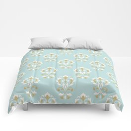 Heart Damask Ptn Gold Cream Blue Comforters