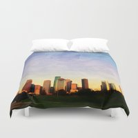 houston Duvet Covers featuring Houston Skyline by Tracy Carlson Photography