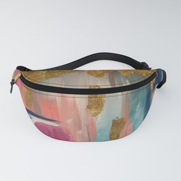 Gold Leaf & Indigo Blue Abstract Fanny Pack