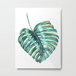 Monstera leaf green tropical watercolor Metal Print