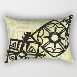 African Pattern, Tribal Motif - Green Black Rectangular Pillow