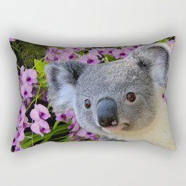 Koala and Orchids Rectangular Pillow