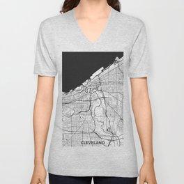 Cleveland Map Gray Unisex V-Neck