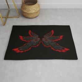 Black Red Archangel Wings Rug