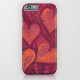Hearty Flowers / Anthurium, pink, red & orange iPhone Case