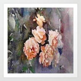 Ivory Roses Watercolor Tender Bouqet Art Print